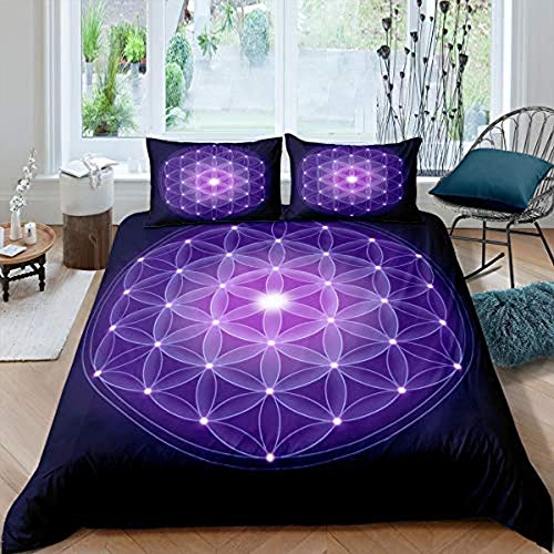 DUVETWEI Bedding Set 3 Pieces Duvet Cover with 2 Pillowcases,Soft Microfiber Pintuck Duvet Cover Set (1 Duvet Cover 200x200 cm /2 Pillow Cases 50x75 cm)Blue purple grid plaid flower pattern