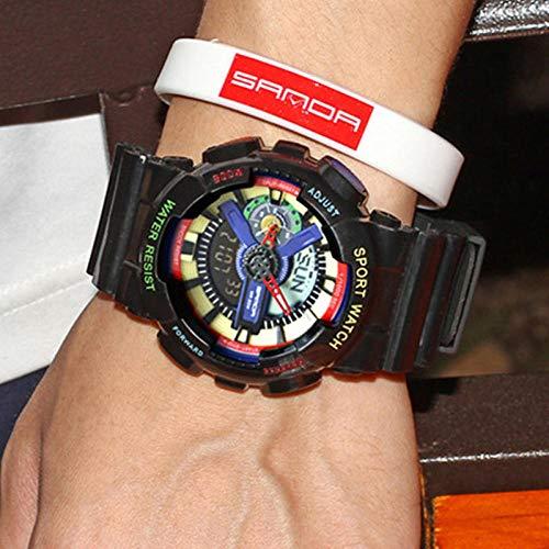 TWCAM Acero Cuero Pulsera Hombre- Reloj Reloj Electrónico De Doble Pantalla Reloj Masculino Multifunción Cuenta Atrás De Natación Impermeable, Color Negro