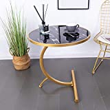 HuiDao Round Side Table C Shaped Wooden Marble Texture Finish End Table Coffee Table for Living Room Bedroom Small Spaces Office Bed Sofa Couch, 22'(D) x24(H), (Black)