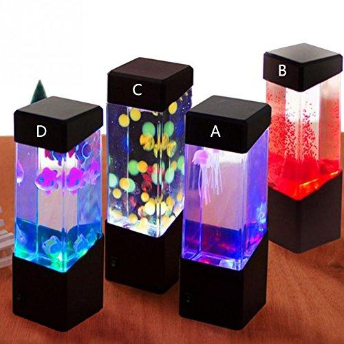 Oyalaiy Oyotric Jellyfish Lámpara eléctrica de Tanque de Medusa Artificial Mini Acuario cambiante de Color de la lámpara de Estado de ánimo para decoración del hogar Magic lámpara para Regalo