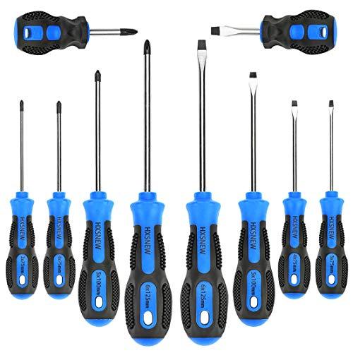 HXSNEW Magnetic Screwdriver Set 10 PCS,5 Phillips and 5 Flat Head Screwdriver Non-Slip for Repair Home Improvement Craft (Blue)