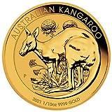 Moneda de oro de Australia canguro 2021, 1/10 onzas (incluye funda para monedas y bolsa de regalo)