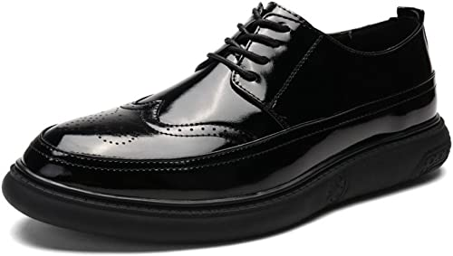 DHFUD Glossy Cuir Verni Hommes Chaussures Angleterre Paresseux Chaussures Chaussures Pointues