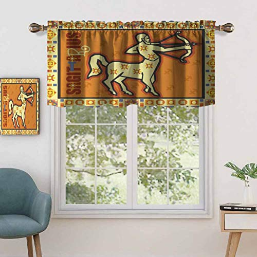 Indoor Privacy Window Valance Curtain Panel Stylized Horoscope Icon with Arrow on Mystic Background Esoteric, Set of 2, 54'x24' for Sliding Patio Door/Dining