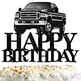 Pickup Truck Cake Topper Happy Birthday Theme Black Glitter Decor Picks for Kids Adult Birthday Party Decorations Supplies
