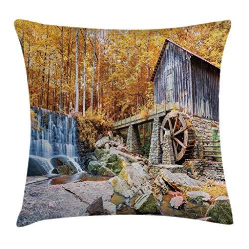 Zhengzho Waterfall Throw Pillow Cojín, Imagen de la Temporada de otoño del...