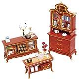 Robotime Juegos de Muebles de Madera para Casas de muñecas y Accesorios en Miniatura para Casas de muñecas Juegos de muñecas Decoración (Set 4)