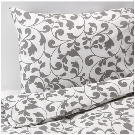 Ikea 2 Piece Twin Duvet Cover Set Gray Floral Scroll Pattern on White Rostvin product image