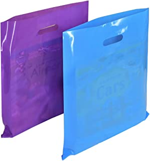 Wowfit 100 CT 12x15 inches Plastic Merchandise Bags with Fashionable Glossy 50 Purple and 50 Blue. Retail Shopping Bags are Strong with Die-Cut Handle. Perfect for Small Shops and Boutiques Stores