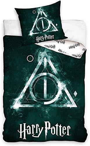 Carbotex - HP183029 - Juego de Cama Harry Potter Reliquias de la Muerte Deathòy Hallows 2 Piezas Funda Nordica 160x200cm y Funda de Almohada 70x80cm algodón Original