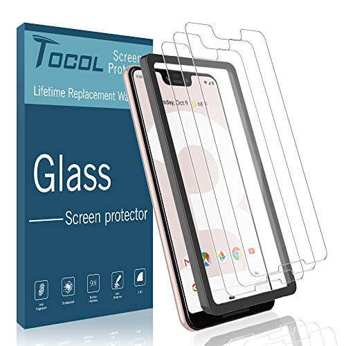 TOCOL 3 Pack Compatible with Google Pixel 3 XL Screen Protector Tempered Glass HD Clarity Touch Accurate 9H Hardness with Easy Installation Tray