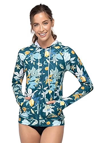 AXESEA Women's Hoodie Rash Guard UV Sun Protection Long Sleeve Hooded Swim Shirts Full Zip Front...