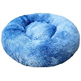 TRAINSTOO Alfombra de arena para mascotas para gatos y perros, gruesa y redonda, para gatos, cama de abrazo, cama de aislamiento automático para perros y gatos Tie-dyeroyalblue