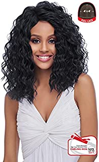 4x4 MULTI PARTING LACE WIG WITH SILK BASE, NATURAL WAVY, Multi-Direction Part (FLS10) (1B-OFF BLACK) (1B-Off Black)