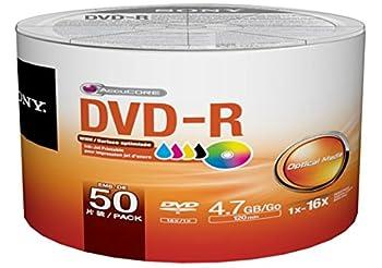 Sony 50 Pack DVD-R DVDR White Inkjet Hub Printable 16X 4.7GB 120min Blank Media Disc