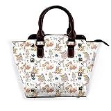 Boho Style Baby Animals - Bolso de mano para mujer, de piel con remaches, bolso grande para el trabajo, color Blanco, talla Talla única