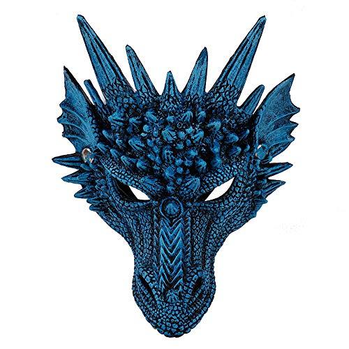 Unisex Adult 3D Drachen Halbmaske, Halloween Party Maske Drache Cosplay Maske Party Kostüm Maske für Karneval Einheitsgröße (Dragon Blue)