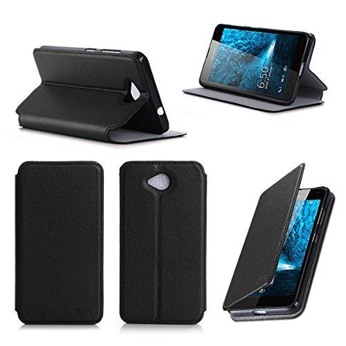 Microsoft Lumia 650 Tasche Leder Style schwarz Hülle Cover mit Stand - Zubehör Etui smartphone 2016 Lumia 650 Dual SIM Flip Case Schutzhülle (Handy tasche folio PU Leder, Black) - Brand XEPTIO accessoires