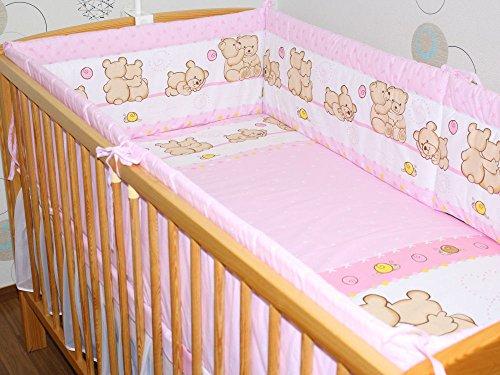 Nestchen Bettumrandung Kopfschutz Für Baby Kind - BÄRCHEN ROSA - 190cm, 360 cm, 420cm für Bett 70x140 cm, 60x120cm 420 cm