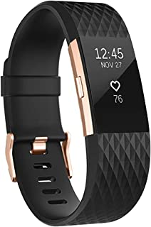 UMAXGET Compatible with Fitbit Charge 2 Bands, Soft Silicone Sport Adjustable Wristband Special Edition with Rose Gold Silver Buckle for Men Women, Large Small