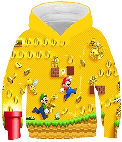 Super Mario Bros Kapuzenpullover 3D-Druck Pullis Jungen Mädchen Pullover Hoodie 3-14 Jahre Kinder Cartoon Spiele Sweater Sweatshirt (11202,100cm)