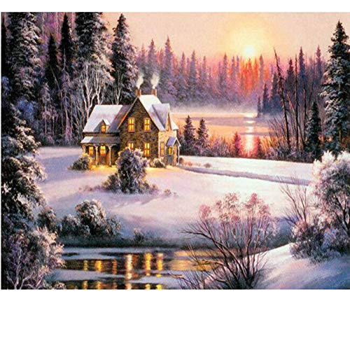 DIY Diamond Painting Winter Landscape 3D Rhinestone Cross Stitch Kits Diamond Embroidery House Picture Home Decor 30X40Cm