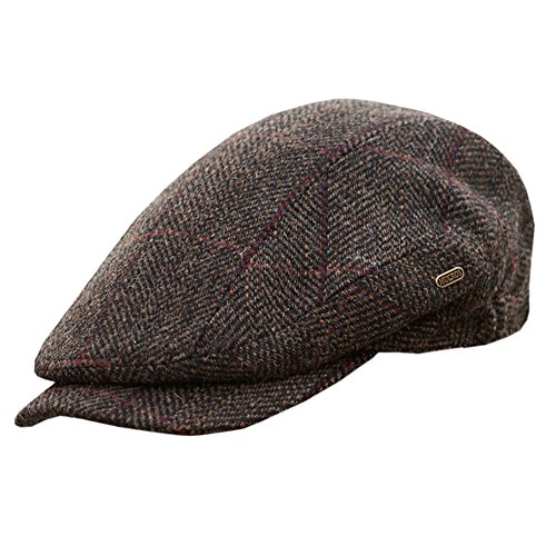 Mucros Weavers Men's Quiet Man Cap, Irish Tweed Flat Cap, Brown, Large