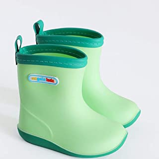 Rubber Boots For Men-Rubber Boots Summer Children's Rain Boots Boys Baby Rain Boots Light Non-slip Girls Rubber Shoes Children Baby Waterproof Overshoes  Rain boots (Color : Green, Size : 25 yards)