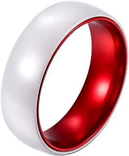 POYA 8mm White Ceramic Ring Polished Finish Wedding Band Red Interior Comfort Fit