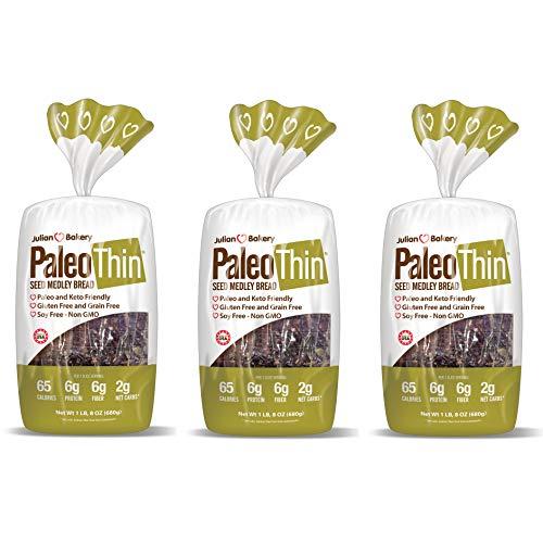 Julian Bakery Paleo Thin Bread | Seed Medley | Gluten-Free | Grain-Free | Low Carb | 2 Net Carbs | 3 Pack