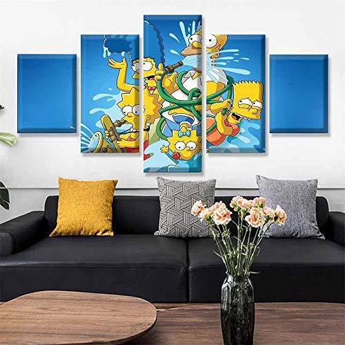 GFHFG 5 Lienzos Decorativos 150X80Cm 5 Cuadros En Lienzo Simpson Cuadros Modernos Impresión De Imagen Artística Digitalizada Lienzo Decorativo para Tu Salón O Dormitorio