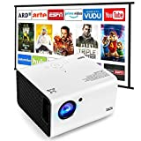 Portable Projector, SWZA Native 1920x1080P Movie Video Projector with 100' Projector Screen, Mini Projector with Built-in HiFi Sound Speaker for Home Theater
