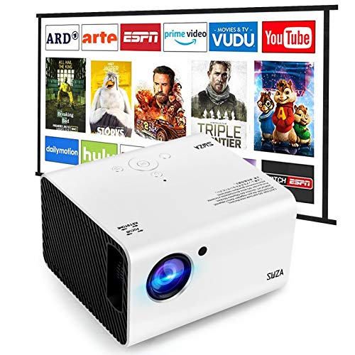 "Portable Projector, SWZA Native 1920x1080P Movie Video Projector with 100"" Projector Screen, Mini Projector with Built-in HiFi Sound Speaker for Home Theater"