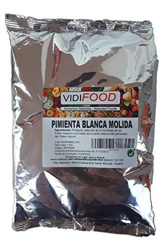 Gemahlener Weißer Pfeffer - 1kg - aromatischer Pfeffer - Pfeffer Gewürz für Keto und vegane Gerichte - glutenfrei