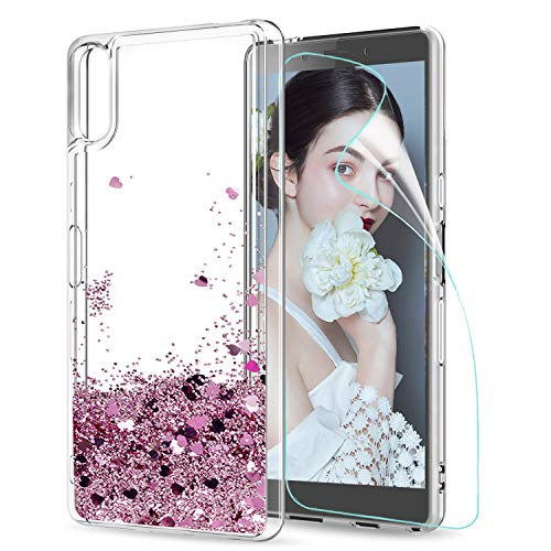 LeYi Sony Xperia L3 Case with Screen Protector, Girl Women 3D Glitter Liquid Cute Luxury Personalised Clear Transparent Silicone Gel TPU Shockproof Phone Cover for Sony Xperia L3 Rose Gold (Pink)