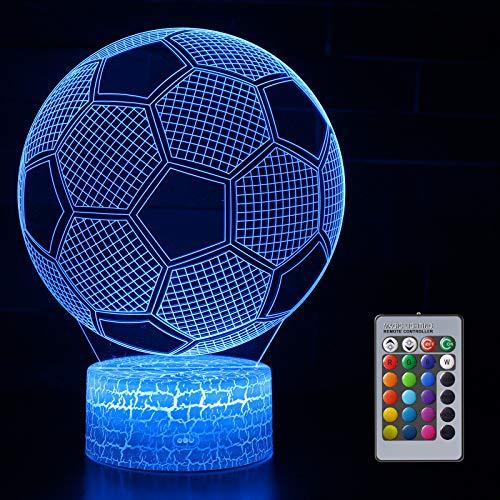 Fußball 3D Nachtlicht für Jungen, 3D Optische Täuschungs lampe, Dimmbare 3D Nachtlicht mit 16 Farben Ändern und Fernbedienung, Geburtstags und Weihnachtsgeschenke für Kinder(Fußball)