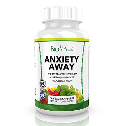 Bio Naturals Anxiety Away Anti-Anxiety & Stress Relief Supplement - Herbal Blend with Ashwagandha, 5-HTP, Chamomile, Hawthorn & Valerian - Enhances Mood, Promotes Calmness & Relaxation - 60 Capsules