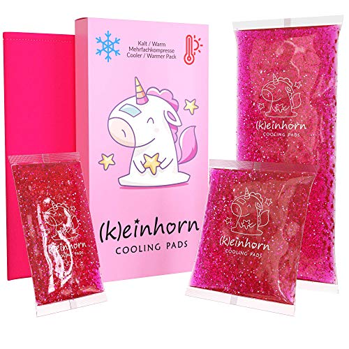 (K) einhorn Kalt Warm Gel Kompresse/Glitzer deinen Schmerz weg/für Baby und Kinder/wiederverwendbar als Wärme- oder Kühlpads / 3 Pad Größen klein bis groß mit Motiv/Set mit Hülle/rosa