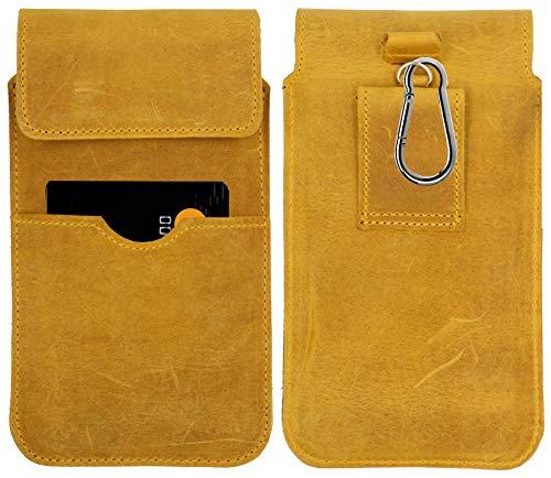 MOELECTRONIX ECHT Leder Hüft Gürtel Tasche passend für Motorola One Hyper | Gürteltasche mit Karabinerhaken & Schlaufe | Seiten Quer Schutz Hülle Lederhülle | XL Gelb