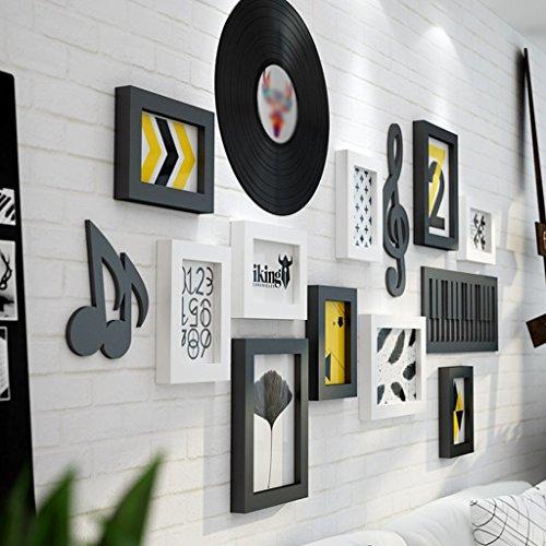 DNSJB 9-delig/set zwart wit vintage massief houten fotolijst wand, familie houten fotolijst sets, fotolijst voor schilderijen