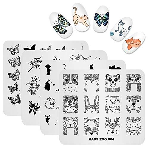 KADS Nail Art Stamping Plate Stamping Plaques nail art pochoir à ongles pour décoration Cochon Papillon Hérisson Lion Animal Mignon
