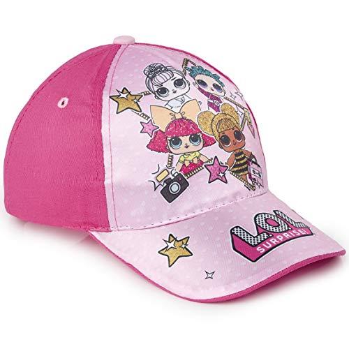 L.O.L. Surprise ! Mädchen Premium Baseball Baseballmütze | Kinder Sonnenhüte für den Sommer in Schwarz Rosa Blau Sparkly Glitter Einhorn Holographische Krempe (Rosa)