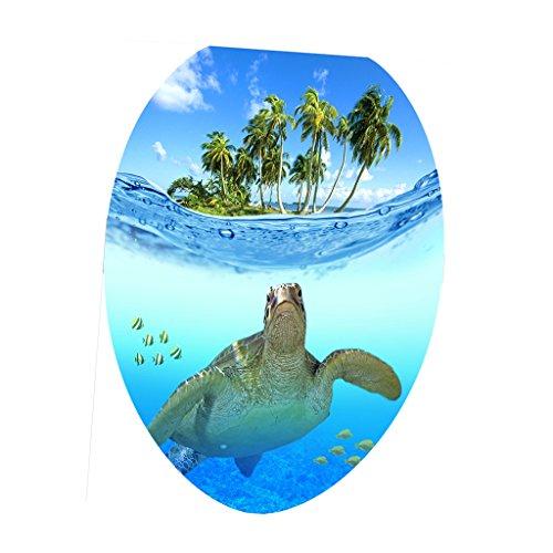 Sharplace DIY Aufkleber WC Sitz Folienaufkleber Toilettensitz Bad WC Dekor Sticker - Schildkröte