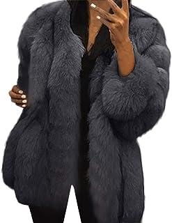 029f26ba28 FNKDOR Manteaux en Fausse Fourrure pour Femmes d'hiver Chaud Épais Veste à  Manches Longue