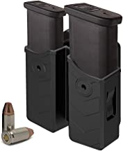 HQDA Universal Double Magazine Holster Mags Pouch Fits Glock 17 19 22 9MM/.40 Cal Dual Stack Mags, Duty Belt OWB Handgun Mag Holder for Taurus CZ S&W Sig Sauer Beretta H&K Colt Browning Ruger CANIK