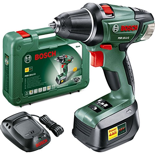 Bosch PSR 18 LI-2 Cordless Lithium-Ion Drill Driver with 1 x 18 V Battery, 1.5 Ah