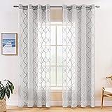 MIULEE 2 Piezas Cortinas Translúcidas Visillos Diseño Moderno Cortina Transparente para Salon Dormitorio Habitacion Sala de Estar Ventana Comedor 140x175 cm Gris