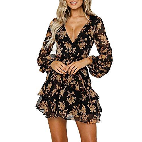 Damklänningar ledig blomtryck volanger omlottklänning långärmad Swing plissé skater miniklänning, GUL, L