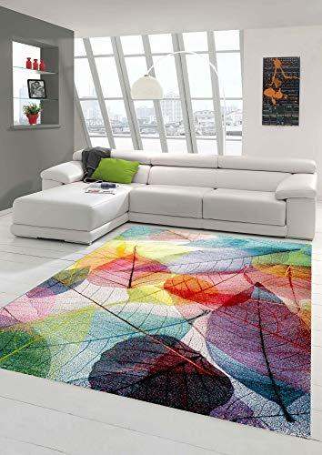 Teppich-Traum Tappeto Moderno Salotto Fogliame Fogliame colorato Größe 160x230 cm