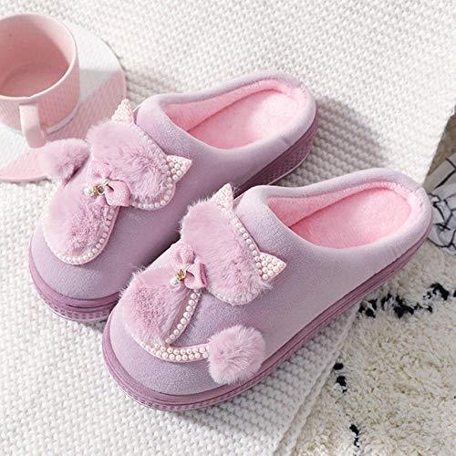 VJOSH Frauen Baumwolle Hausschuhe Süße Katze Hausschuhe Damen Plattform Indoor Schuhe Für Frauen Winter Hausschuhe Home Hausschuhe Weibliche Warme Schuhe-4,35-36, Russische Föderation